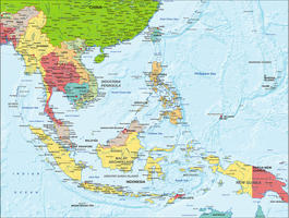 Digital map South East Asia political