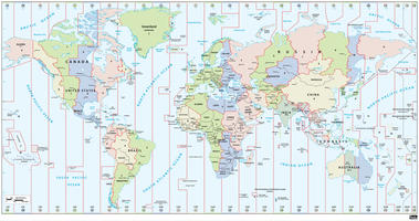 Digital world map time zone