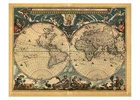 Digital World Map Year 1664 Blaeu