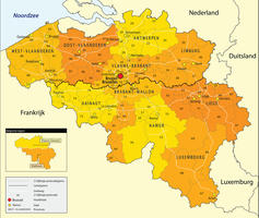 Digital postcode map Belgium 2-digit
