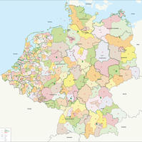Digital Postal code map Benelux + Germany 1 and 2 digit