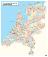 Digital 3-digit postcode map of The Netherlands