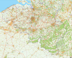 Digital 4-digit postcode map Belgium