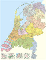 Digital postcode map of The Netherlands 1-2-3 digit