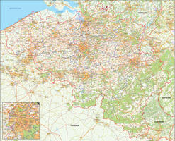 Digital municipal map Belgium detailed