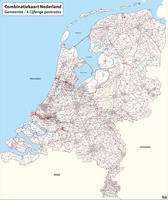 Digital postcode-/municipality map of the Netherlands