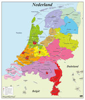 Digital basic county map of The Netherlands
