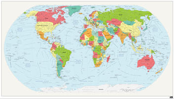 Political world map with rounded corners
