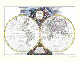 Digital World Map year 1752 Robert de Vaugondy