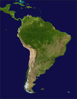 Digital satellite map South America